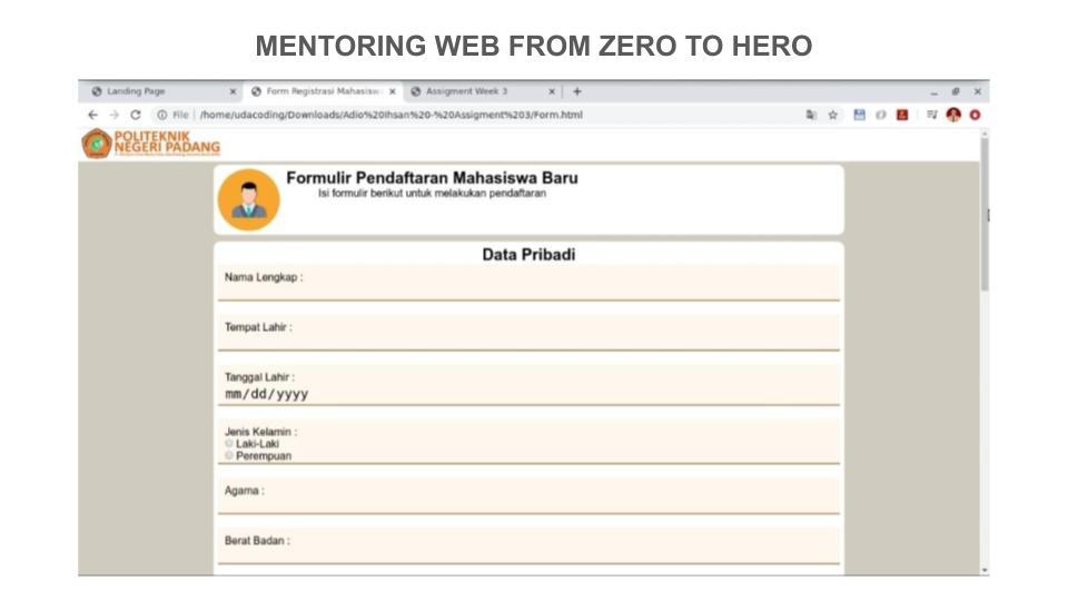 6 Portofolio Peserta Mentoring Web hingga Pekan ke – 3