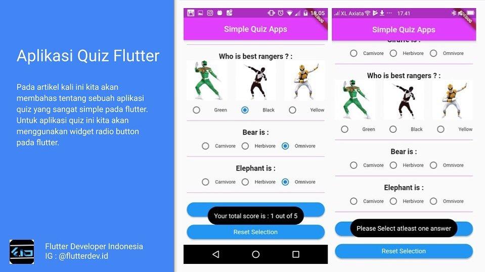 Aplikasi Quiz menggunakan Flutter